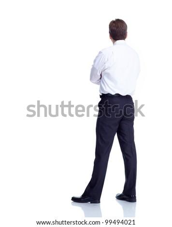 Businessman back. Isolated on white background. - stock photo