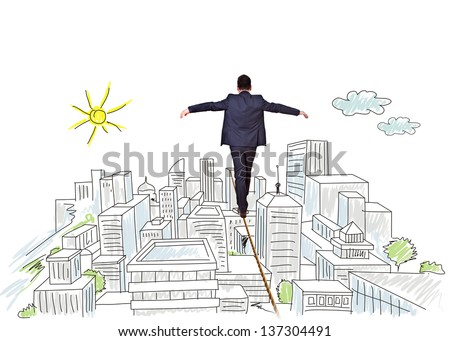 businessman balancing on tightrope city - stock photo