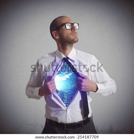 Businessman becomes a super hero of cyberspace - stock photo