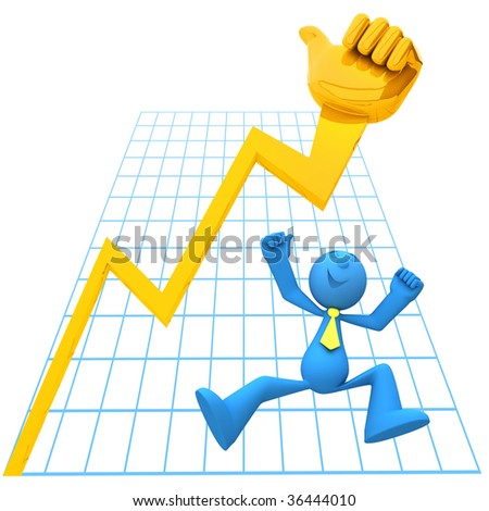Businessman being happy because of economy growth - stock photo