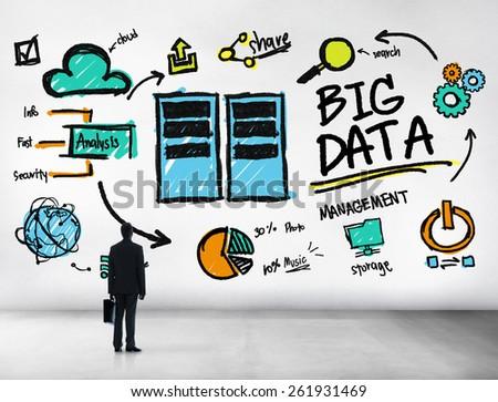 Businessman Big Data Management Looking Up Concept - stock photo