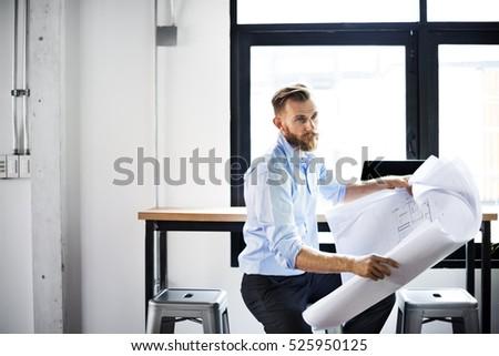 Businessman Blueprint Architect Design Ideas Plan Concept