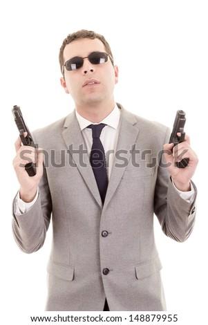 Businessman bodyguard isolated on a white background - stock photo