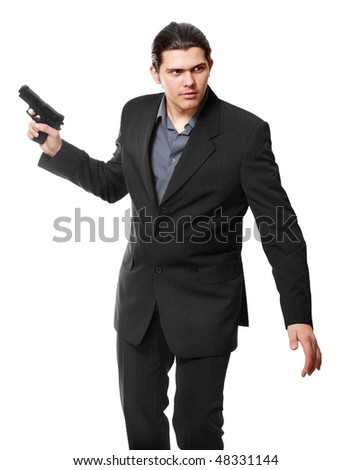 Businessman bodyguard isolated on a white background - stock photo