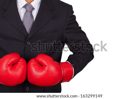 Businessman Boxing on a white background. - stock photo