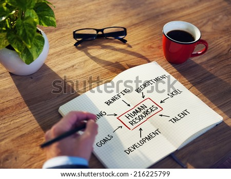 Businessman Brainstorming About Human Resources - stock photo