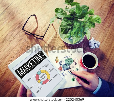 Businessman Brainstorming About Marketing Strategy - stock photo