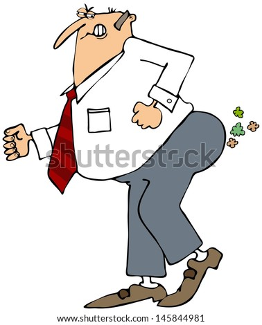 Businessman breaking wind - stock photo