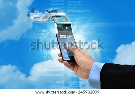 Businessman browsing through websites on his smart phone internet connection - stock photo
