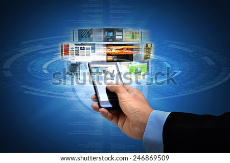 Businessman browsing through websites on his smart phone internet connection