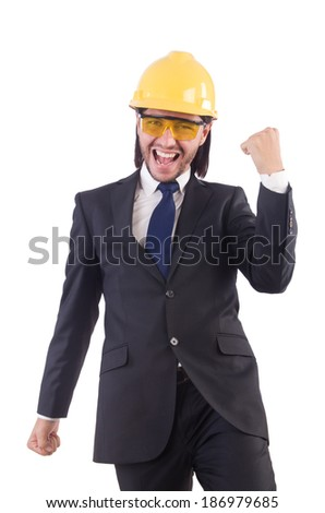 Businessman builder in hard hat isolated on white - stock photo
