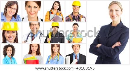 Businessman, builder, nurse, architect. Isolated over white background - stock photo