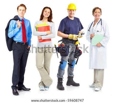 Businessman, builder, nurse, architect. Isolated over white background - stock photo