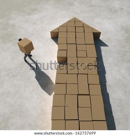 businessman builds arrow - stock photo