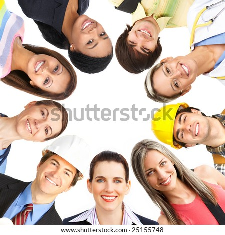 Businessman, business woman, builder, nurse, architect, student. Over white background - stock photo