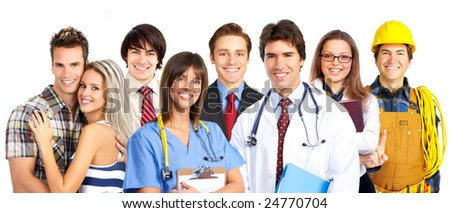 Businessman, business woman, builder, nurse, students. Over white background - stock photo