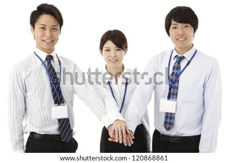Businessman, Businesswoman, three