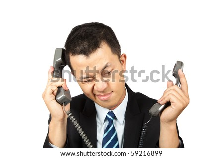 businessman busy and tired on the phone - stock photo