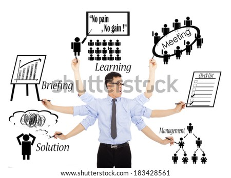 businessman busy daily schedules or multitasking - stock photo