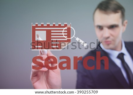 businessman busy searching profiles - stock photo