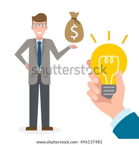Businessman buy idea. Handsome businessman has money bag. Selling new ideas, getting money. Funding concept.