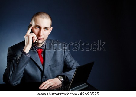 businessman calling by phone, copy space