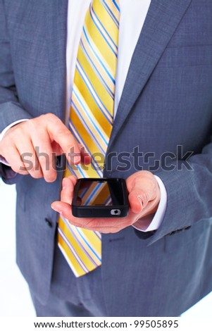 Businessman calling by phone. Isolated on white background. - stock photo