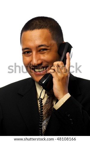 Businessman Calling his friend on the phone isolated on white background - stock photo