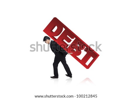 Businessman carrying a large version of the word Debt on his back - stock photo