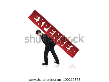 Businessman carrying a large version of the word Expenses on his back - stock photo