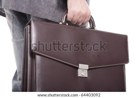 businessman carrying briefcase isolated on white background