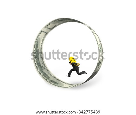 Businessman carrying golden euro sign running in the circle of dollar bills, isolated on white background. - stock photo