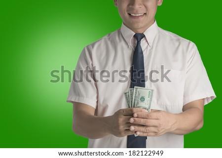 Businessman carrying money dollars.  - stock photo