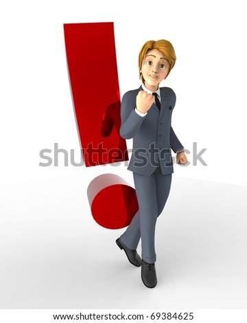 businessman cartoon exclamation point - stock photo