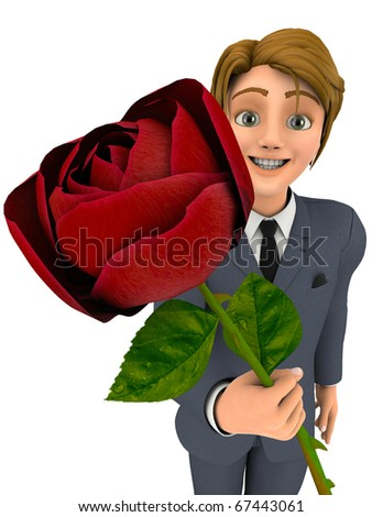 businessman cartoon holding a red rose - stock photo
