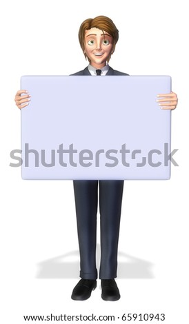 businessman cartoon holding a sign 3 - stock photo