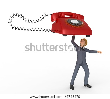 businessman cartoon lifiting the telephone - stock photo