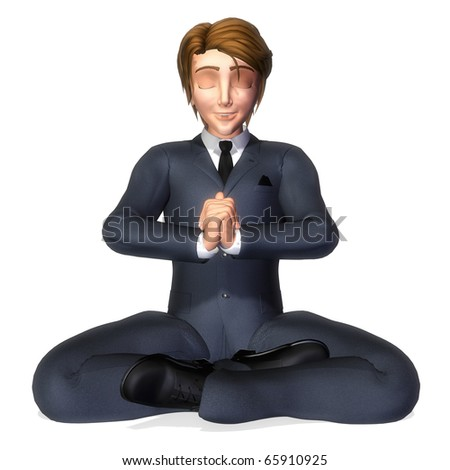 businessman cartoon meditation pose - stock photo