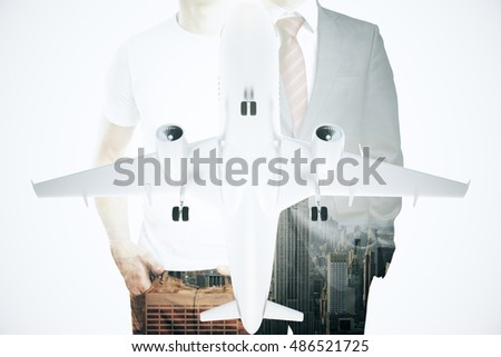 Businessman, casual guy and airplane on abstract modern city background. Double exposure