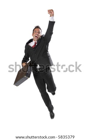 Businessman celebrating - stock photo