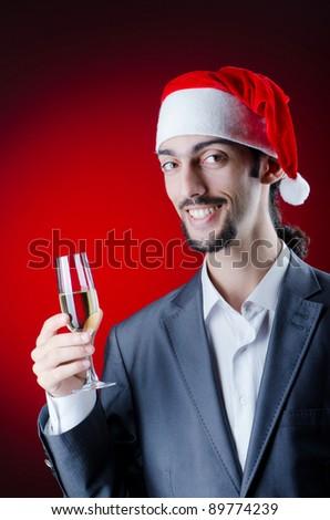 Businessman celebrating christmas holidays - stock photo