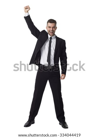 Businessman celebrating success Full Length Portrait isolated on White Background - stock photo