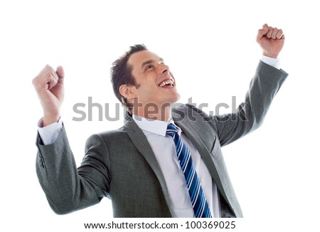 Businessman celebrating success with arms up isolated over a white background - stock photo