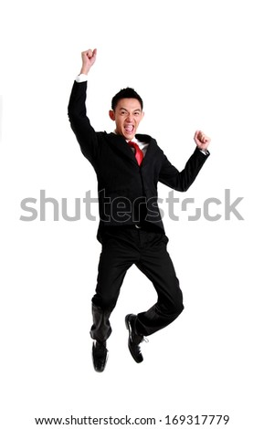 businessman celebration success,businessman jumping. Isolated on white  - stock photo
