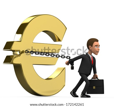 Businessman chained euro - stock photo