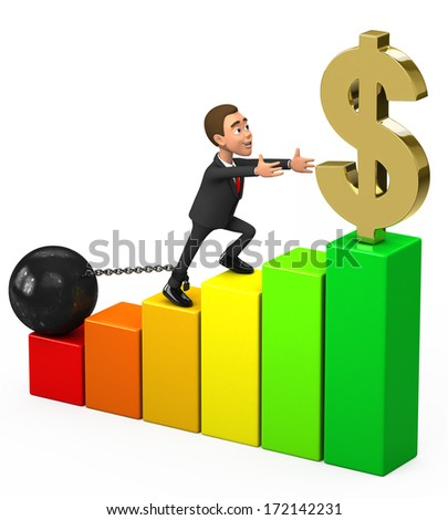 Businessman chained in the chart - stock photo