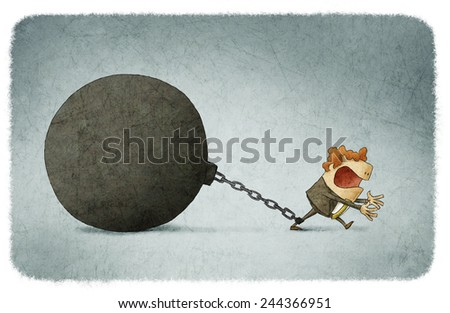 Businessman chained to a large ball - stock photo