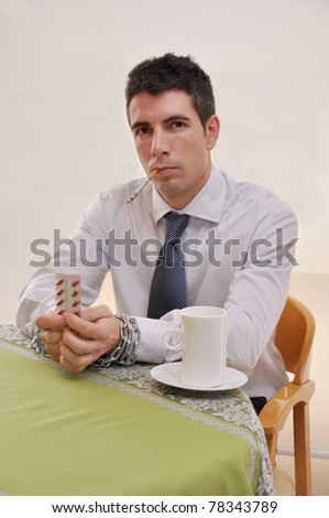 Businessman Chained to Addictions Prescription Pills Coffee Smoking Money Cigarette