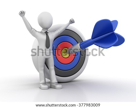 Businessman Character with Target - High Quality 3D Render  - stock photo