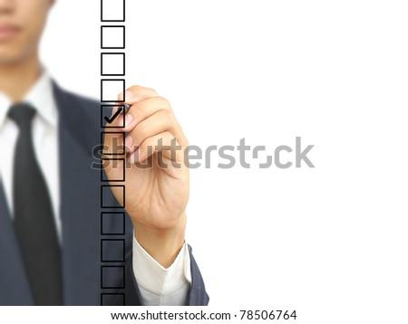 Businessman check choice - stock photo
